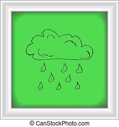 単純である, いたずら書き, の, a, 雲, ∥で∥, 雨