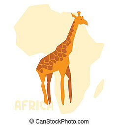 単純である, アフリカ, 地図, イラスト, キリン, 背景