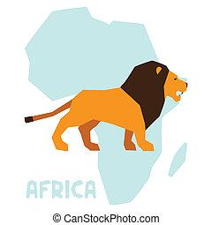 単純である, アフリカ, 地図, イラスト, ライオン, 背景