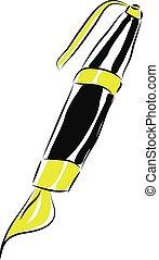 単純である, イラスト, ペン, ベクトル, 黒い背景, 白, 漫画
