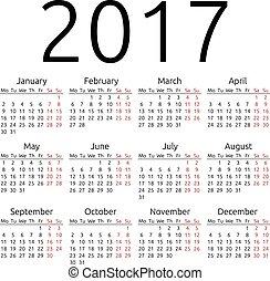 単純である, カレンダー, ベクトル, 2017