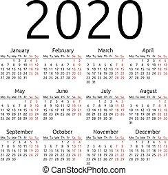 単純である, カレンダー, ベクトル, 2020