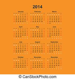 単純である, カレンダー, 2014., ベクトル