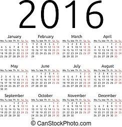 単純である, カレンダー, 2016, ベクトル