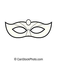 単純である, カーニバル, アイコン, 平ら, デザイン, マスク