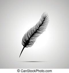単純である, シルエット, 長い間, 黒, 羽, アイコン