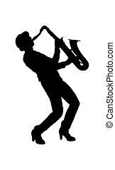 単純である, シルエット, saxophone., デザイン, 音楽家