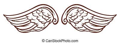 単純である, スケッチ, 翼, 天使