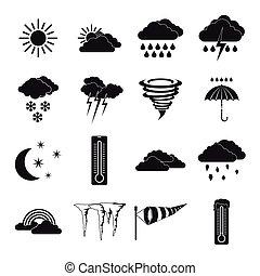 単純である, スタイル, 天候, アイコン, セット