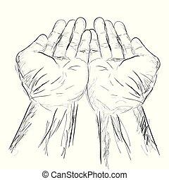 単純である, ドロー, 祈ること, スケッチ, 手