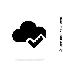 単純である, バックグラウンド。, 白, 点検, 雲, アイコン