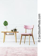 単純である, ピンク, 内部, 部屋, 暮らし