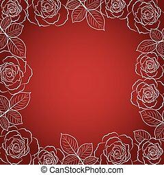 単純である, フレーム, バックグラウンド。, 花, 白い赤