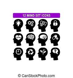 単純である, ヘッドホン, アイコン, ベクトル, 平ら, 心, 脳