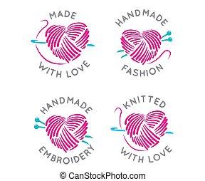 単純である, ベクトル, ロゴ, 紋章, 刺繍, ハンドメイド, -, 作られた, ファッション意匠, 技能, セット, 線である, バッジ, スタイル, テンプレート, 編まれる, 愛
