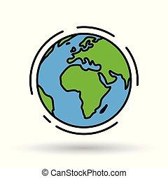 単純である, 全体的な地球, ベクトル, 世界, 地球, icon., 印。