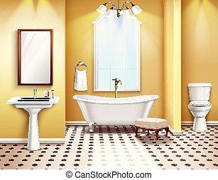 単純である, 内部, 浴室, 構成, 現実的