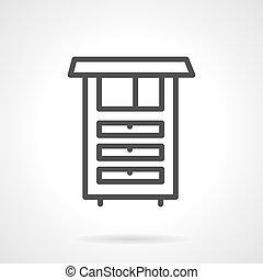 単純である, 台所, ベクトル, 線, 家具, アイコン