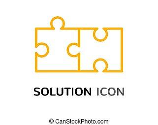単純である, 困惑, 解決, 解決, 概念, デザイン, 集まりなさい, 問題, アイコン