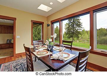 単純である, 大きい, windows., dinning, 部屋