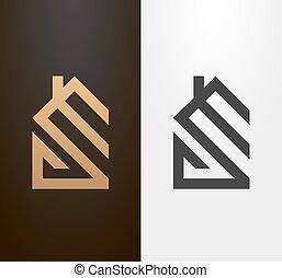 単純である, 家, 線, icon., ロゴ