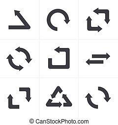 単純である, 平ら, 隔離された, シンボル, デザイン, 背景, リサイクルしなさい, 黒, 白