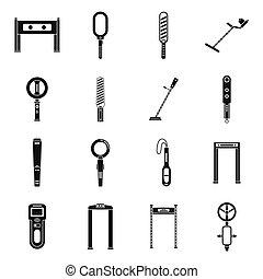 単純である, 探知器, アイコン, スタイル, アクセス, セット, 金属
