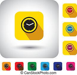 単純である, 時間, デザイン, signs., 今, 時計, -, 長い間, また, 平ら, 秒, シンボル, 腕時計, アイコン, 影, 表す, グラフィック, これ, ボタン, &, プレゼント, ∥など∥, ベクトル, 時間, 分, ∥あるいは∥
