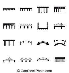 単純である, 橋, スタイル, セット, アイコン