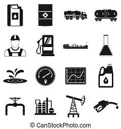 単純である, 産業, オイル, セット, アイコン