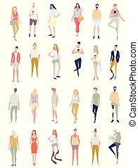 単純である, 白, かわいい, 特徴, バックグラウンド。, 服, ポーズを取りなさい, 国籍, style., styles., 隔離された, 人々。, 仕事, グループ, 別, 平ら, 漫画, standing.