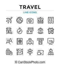 単純である, 線, グラフィック, 要素, 概念, 現代, アウトライン, アイコン, デザイン, collection., ベクトル, set., シンボル, 旅行