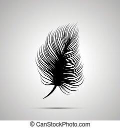 単純である, 羽, 黒, シルエット, アイコン
