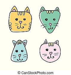 単純である, 色, 変化, 顔, 4, ねこ, 引かれる, 白, 手, icon., 漫画