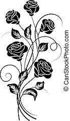 単純である, 花, 白, 黒い背景