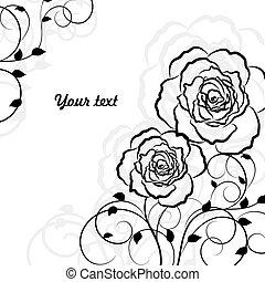 単純である, 隔離された, バックグラウンド。, 黒い背景, 花, 白