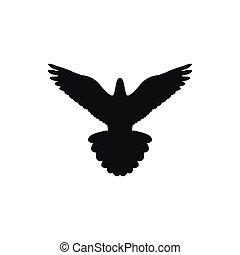 単純である, 隔離された, 黒, ロゴ, 鳥, スタイル