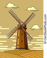 単純である, 風車, イラスト, 漫画, sunset.