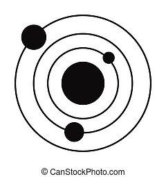 単純である, 黒, システム, 太陽, アイコン