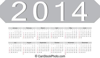 単純である, 2014, カレンダー, ベクトル
