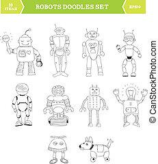単純である, doodles, セット, ロボット