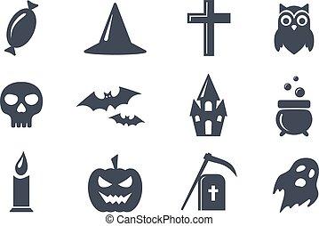 単純である, halloween., セット, ベクトル, アイコン