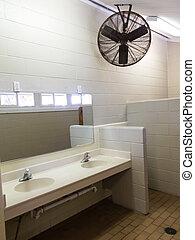 単純である, restroom, 流し, 鏡, ファン