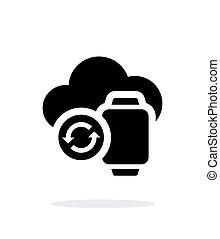 単純である, sync, 腕時計, バックグラウンド。, 雲, 白, 痛みなさい, アイコン