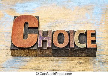単語木, タイプ, 選択