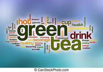 単語, お茶, 抽象的, 緑の背景, 雲