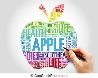 単語, アップル, 雲