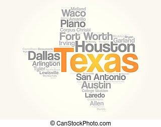 単語, アメリカ, リスト, 州, テキサス, 都市, 雲
