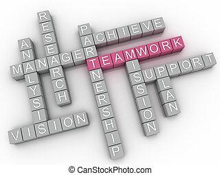 単語, イメージ, 背景, 3d, 雲, チームワーク, 概念, 問題