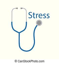 単語, ストレス, 聴診器, アイコン